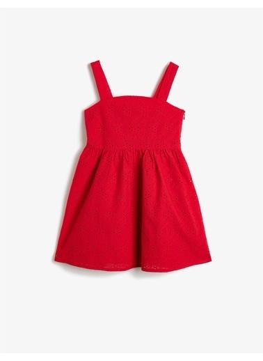 Koton Brode Kumastan Belden Oturtmali Kalin Askili Orta Boy Elbise Kırmızı